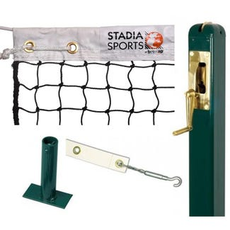 Square Steel Tennis Post complete with Stadia Match Tennis Net, Centre Band & Ground Socket