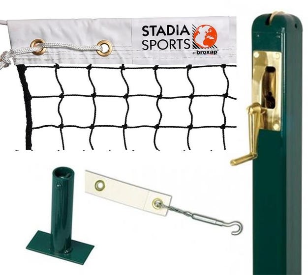 Square Steel Tennis Post complete with Stadia Court Tennis Net, Centre Band & Ground Socket