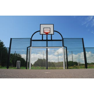 Base Leisure's BL101 Combination MUGA Goal Unit complete with side panels