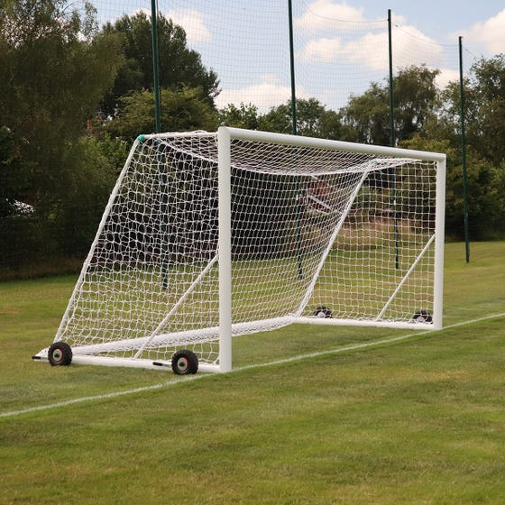 16x7 Self Weighted Elliptical Aluminium Rollaway Goal complete with nets & wheels