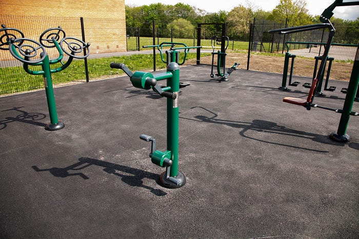 Wheelchair Accessible Arm & Pedal Bike | Static Hand Pedal Cycle | Wheelchair Friendly Outdoor Gym Equipment from Sunshine Gym