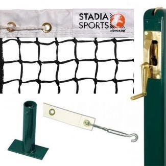 Square Steel Tennis Post complete with Stadia Tournament Tennis Net, Centre Band & Ground Socket