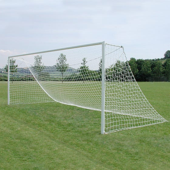 Heavyweight 76mm Steel Socketed Football Goals Package - 21' x 7'