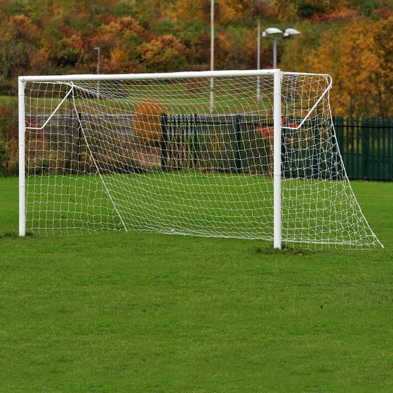 Heavyweight Socketed Steel Football Goals Package - 16' x 6'